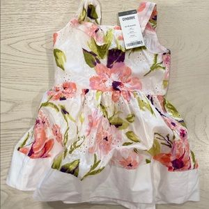 NWT GYMBOREE 12-18 MONTHS WHITE PINK FLORAL DRESS